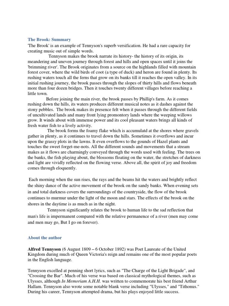 tennyson s the brook analysis and summary river stream