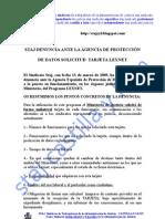 DENUNCIA AGENCIA ESTATAL DE PROTECCIÓN DE DATOS