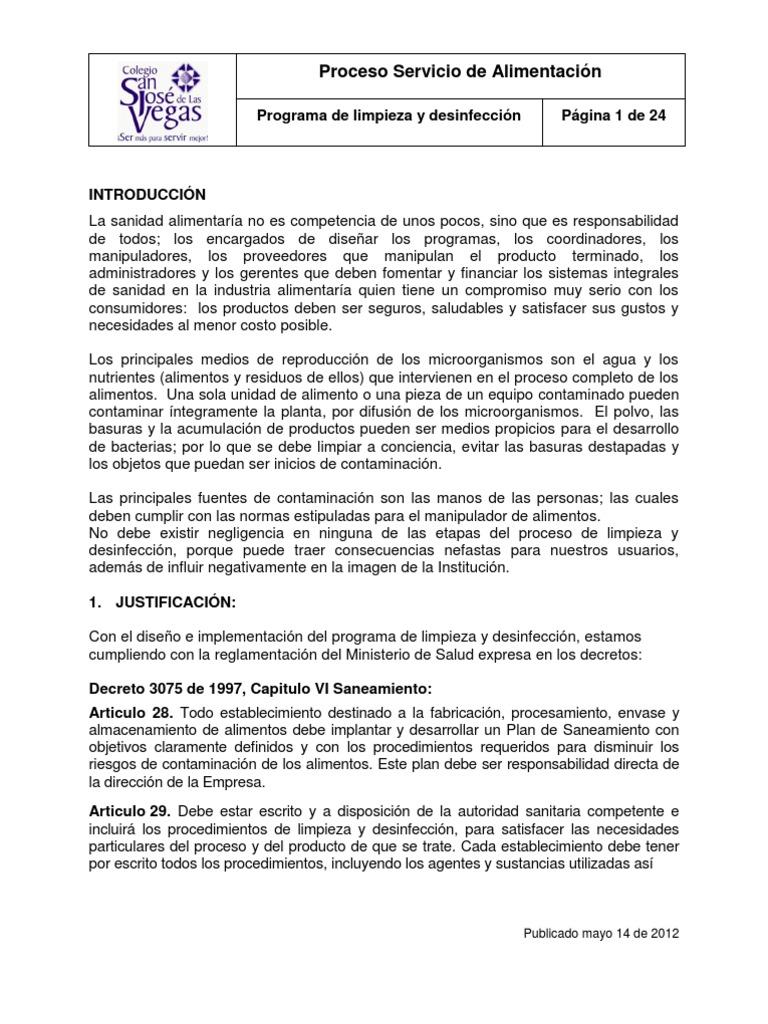 Programa de limpieza y for Manual de limpieza y desinfeccion para una cocina