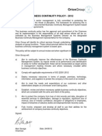 Business Continuity Policy 2012