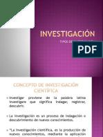 INVESTIGACIÓN Y TIPOS DE INVESTIGACION