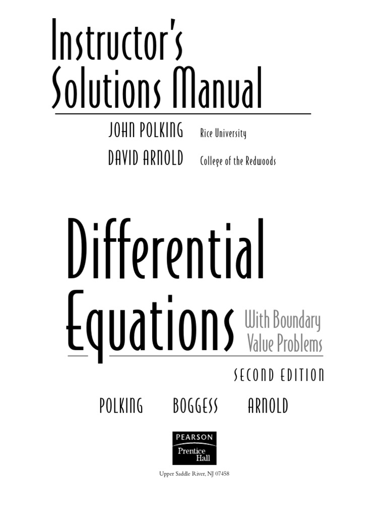 Instructor Solutions Manual.differential Equations With