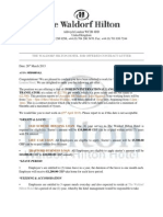 The Waldorf Hilton Hotel Job Offered Contract Letter