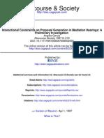 International Constraints on Proposal Generation in Mediation Hearings