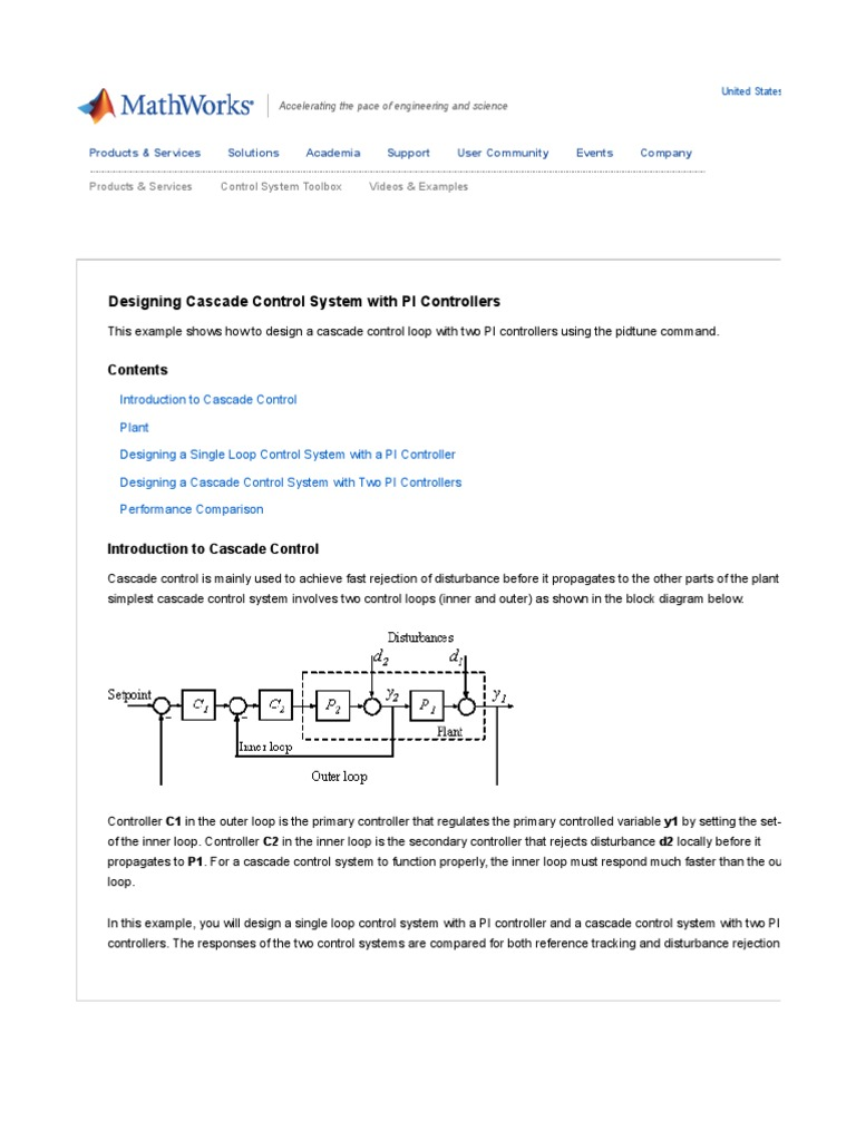 Control System Toolbox - Designing Cascade Control System With PI ...