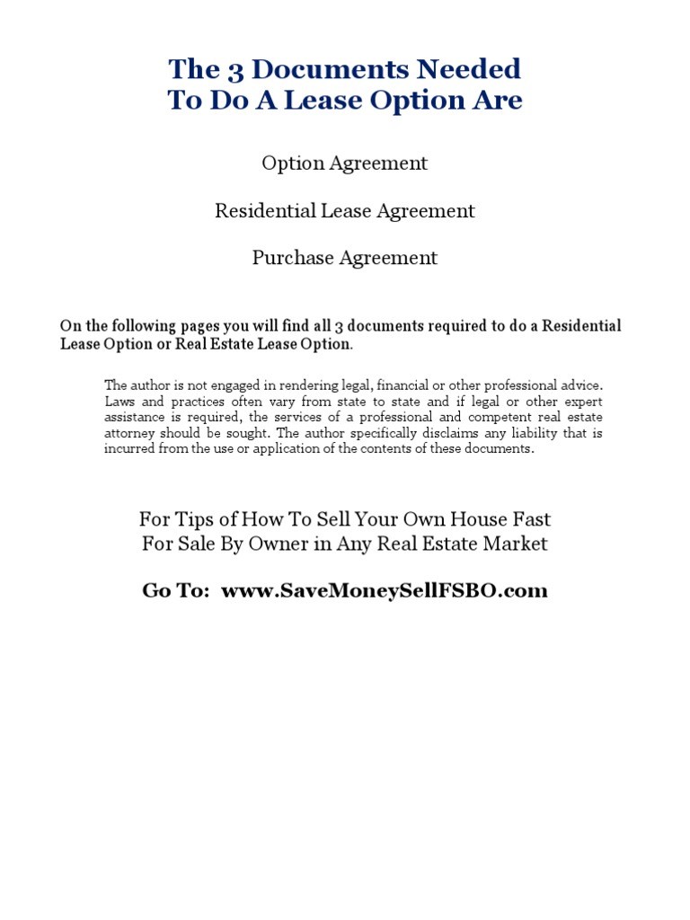 All 3 Documents Needed To Do A Residential Lease Option Lease