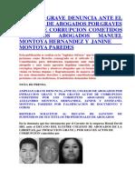 Amplian Grave Denuncia Ante El Colegio de Abogados Por Graves Actos de Corrupcion Cometidos Por Los Abogados Manuel Montoya Hernandez y Janine Montoya Paredes