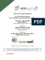 New Massachusetts Privacy Rules Seminar Flyer 4/30/09