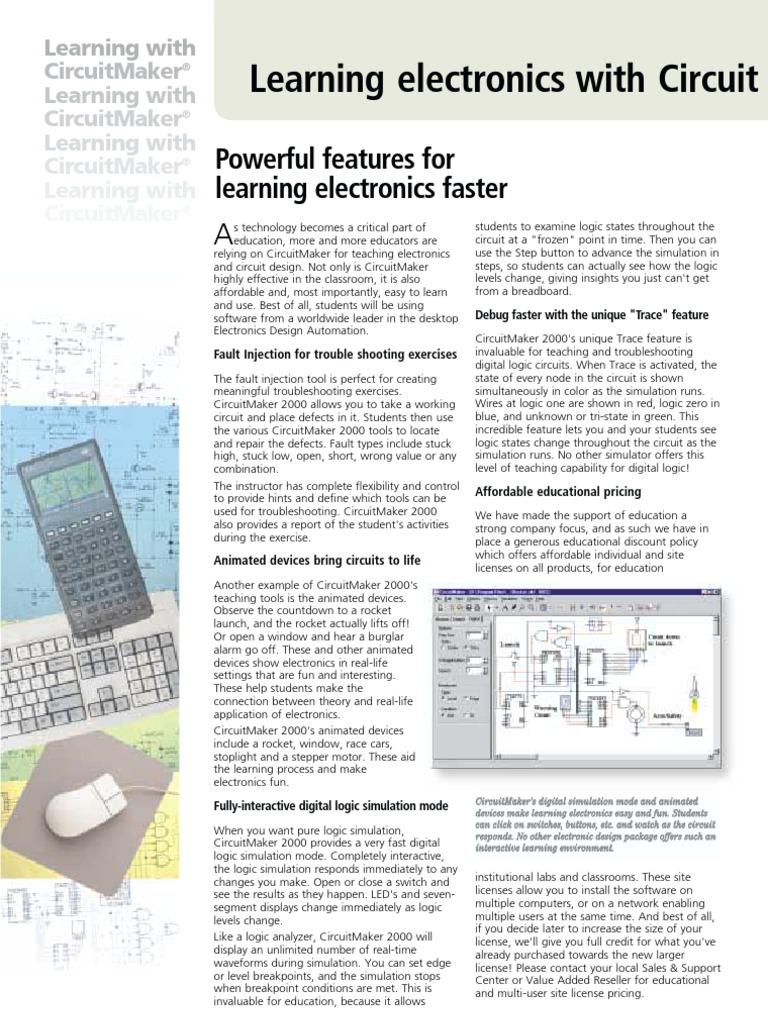 Circuit Maker 2000 Learning Electronics Simulation Electronic Design Steps