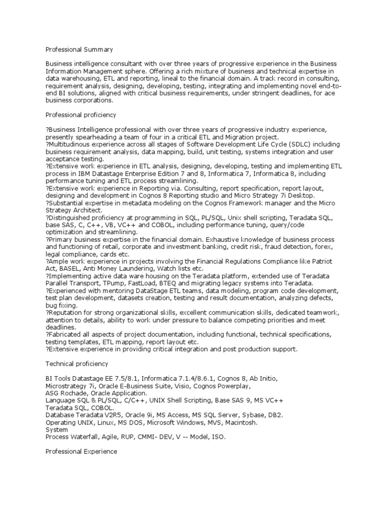 75723207 Datastage Sample Resume Pdf Data Warehouse Oracle