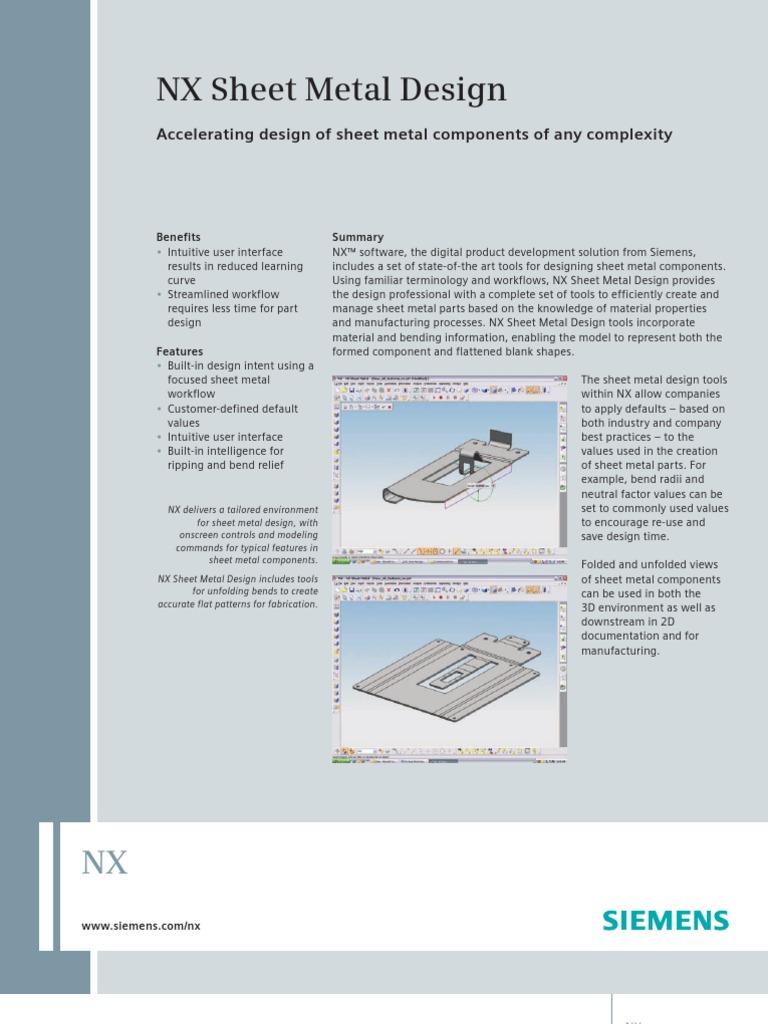 Nx Sheet Metal Design Pdf Sheet Metal Product Lifecycle