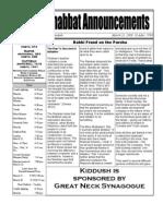 Shabbat Announcements, March 21, 2009