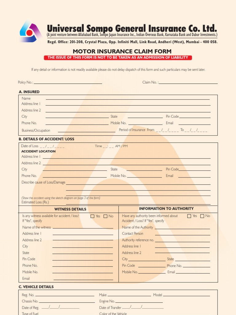 Motor Claim Form | Insurance | Invoice