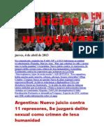 Noticias Uruguayas Jueves 4 de Abril Del 2013 i