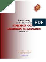 2013 Common Core Parent Survey Results