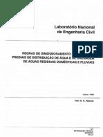 LNEC ITE 31-2006 - Regras de dimensionamento dos sistemas prediais de distribui��o de �gua e de drenagem de �guas residuais e pluviais