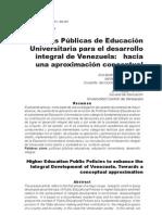 Politicas Para El Desarrollo de La Educacion Superior en Venezuela