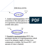 Terms Used in Water Balance