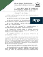 Documentos Registrados para la Sesión del día  31 de agosto de 2012