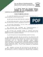 Documentos Registrados para la Sesión del día 23 de octubre de 2012
