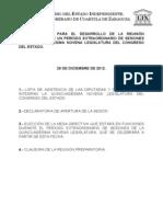 Documentos Registrados para la Sesión Extraordinaria del día 29 de Diciembre de 2012