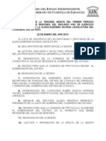 Documentos Registrados para la Sesión Extraordinaria del día 22 de Enero de 2013