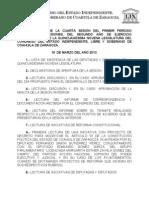 Documentos Registrados para la Sesión del día 19 de marzo de 2013