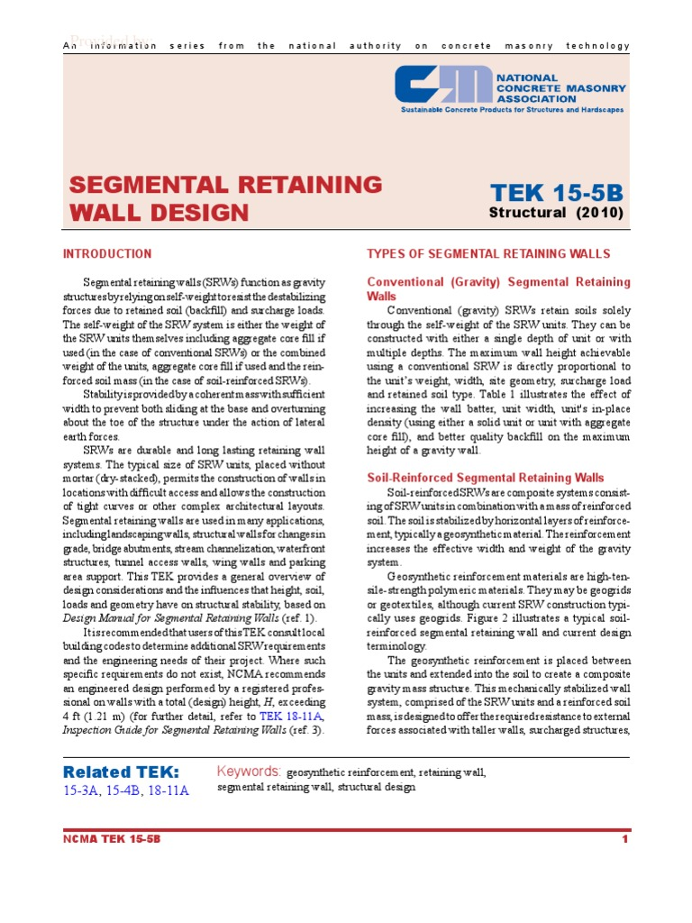 Attractive Segmental Retaining Wall Design TEK | Geotechnical Engineering | Drainage