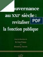 La gouvernance au XXIe siècle- revitaliser la fonction publique Par B. Guy Peters-Donald J. Savoie