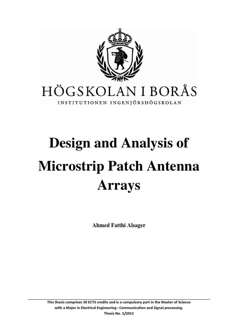Design and Analysis of Microstrip Patch Antenna Arrays (GOOD