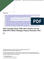 Info Lowongan Kerja Teller Dan Customer Service Bank BTN