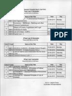 Yogi Vemana University (YVU) Revised Time Table Of 5 Year Law I,III & V Sem Examinations 2013