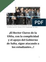 ¡El Rector Claros de la UNSa, con la complicidad y el apoyo del Gobierno de Salta, sigue atacando a los estudiantes…!