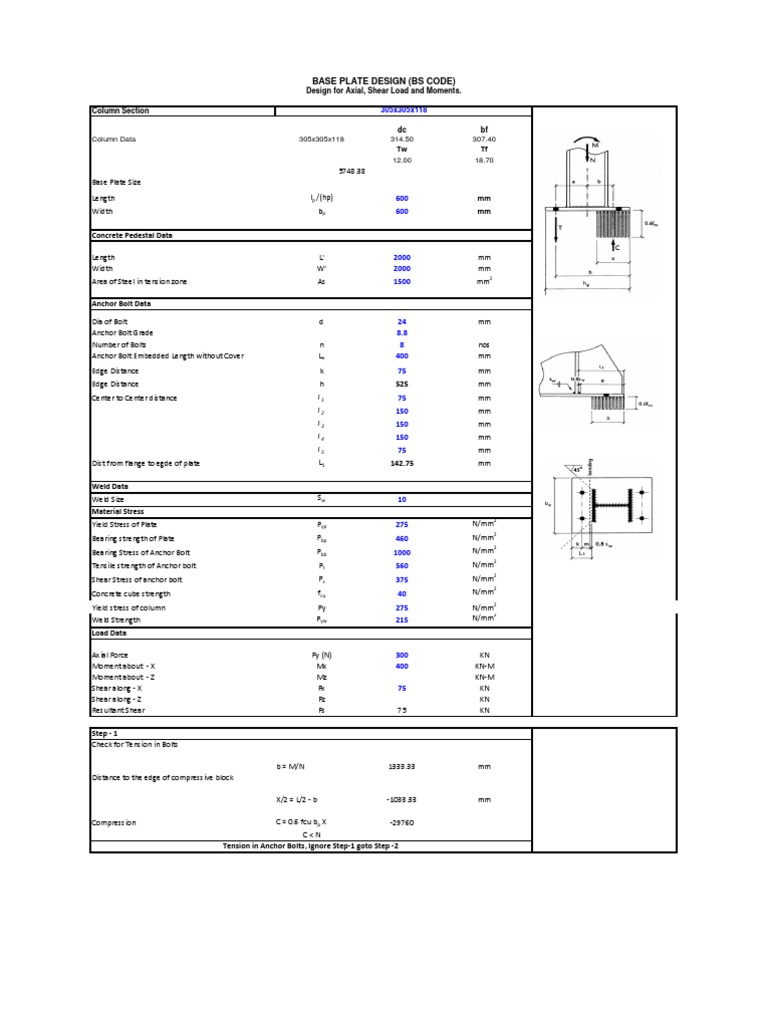 Base Plate Design - BS Code   Strength Of Materials   Screw