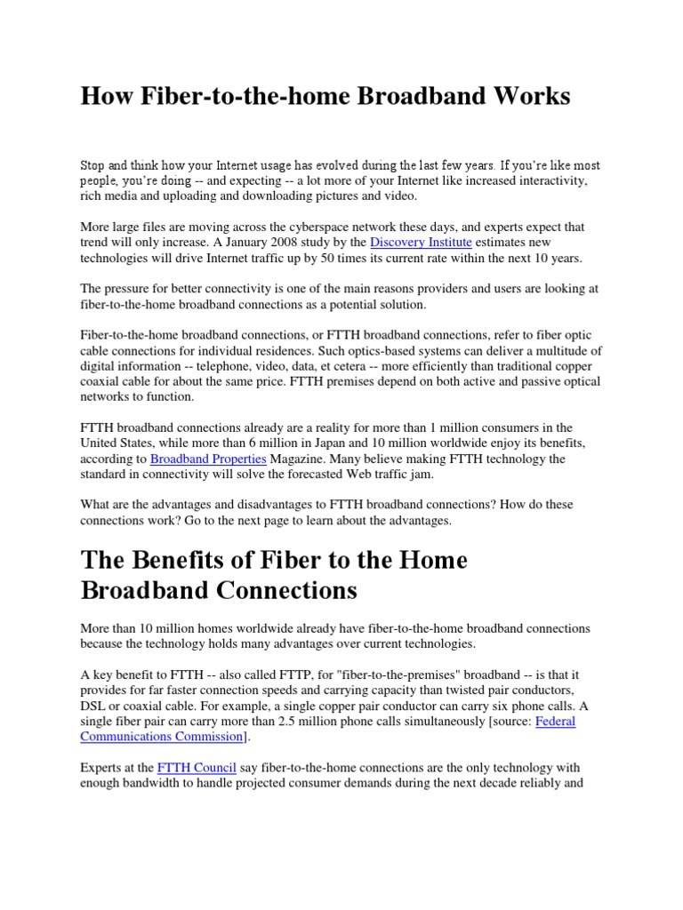 How Fiber To The Home Works X Internet Access Data Cable Wiring