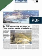 La CHE asume que las obras en Yesa pueden afectar a las laderas