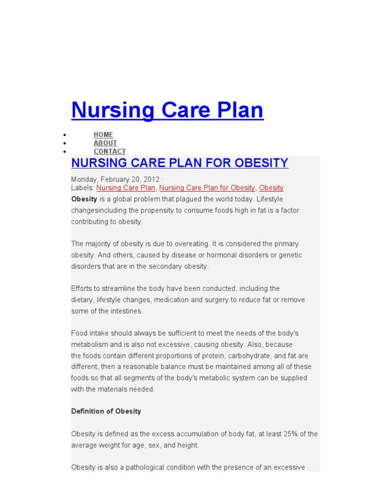 Nursing Care Plan   Nursing   Obesity