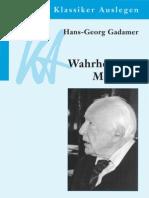 Gadamer Waehrheit Und Methode I