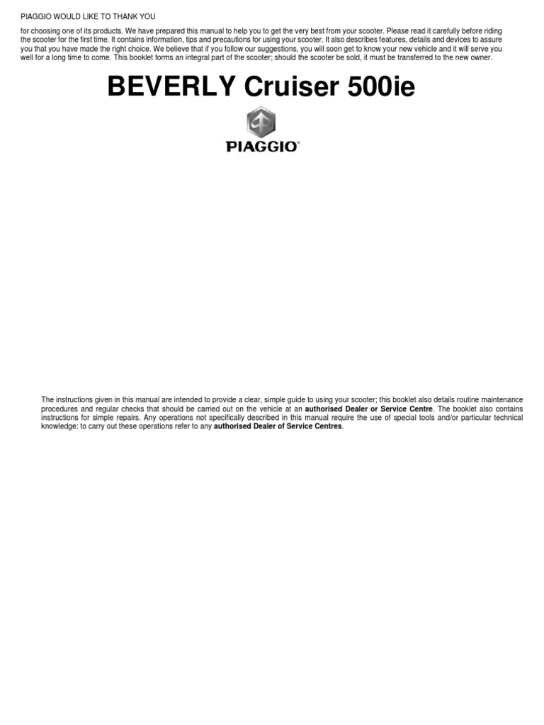 Bv Beverly Cruiser 500ie Maintenance Manual