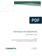 Potholes in Edmonton