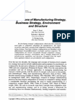 Configurations of Manufacturing Strategy