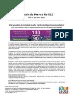 Boletín 012_ Día Mundial de la Salud_ Lucha contra la Hipertensión Arterial