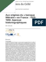 Aux origines du «baroque littéraire» en France_ 1935-1950