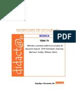 Tema 70 Musica Métodos y sistemas didácticos