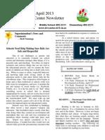 April 2013 School Newsletter