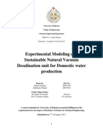 Experimental Modeling of a Sustainable Natural Vacuum Desalination Unit for Domestic Water Production