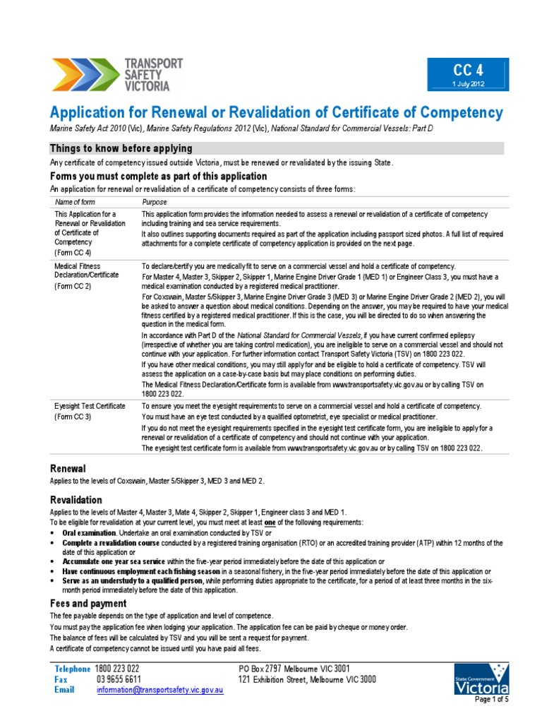 Cc4 application for renewal or revalidation of certificate of cc4 application for renewal or revalidation of certificate of competency sea captain personally identifiable information xflitez Gallery