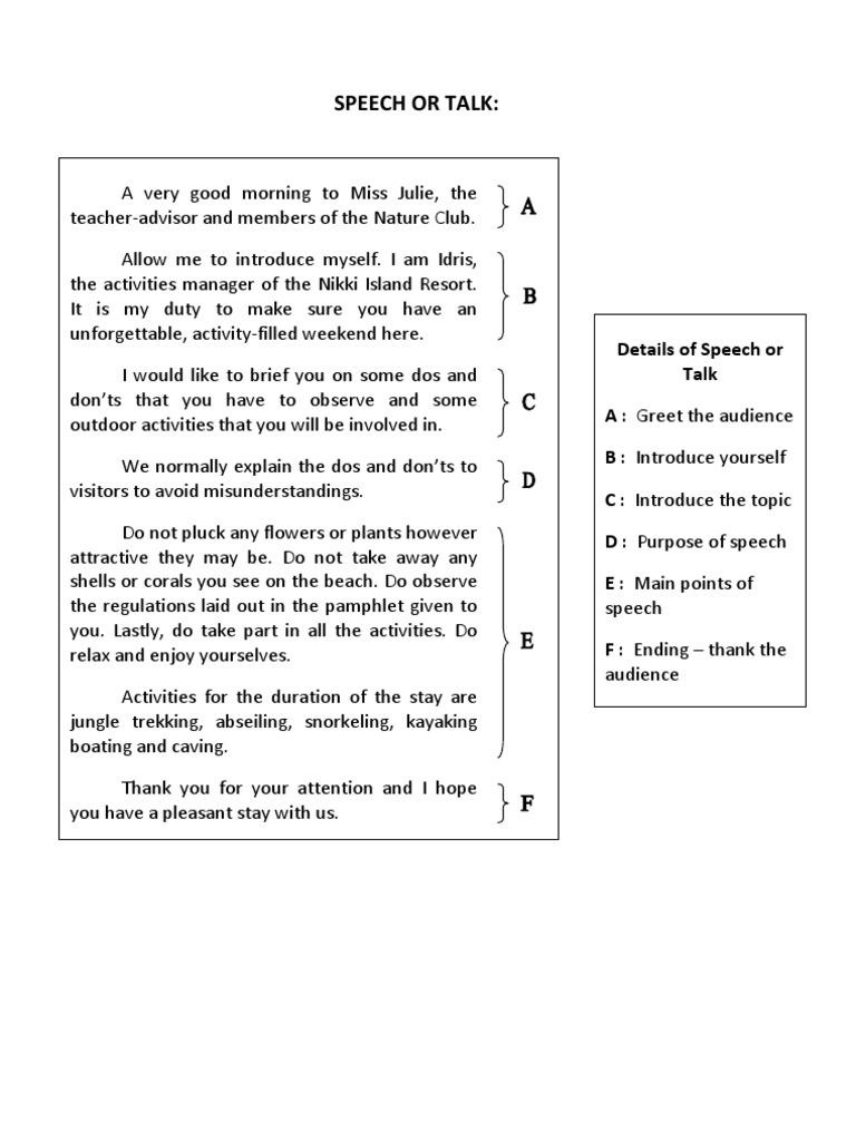 Sample of speech or talkarticle test assessment memory m4hsunfo