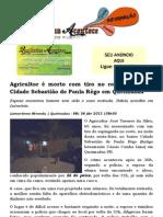 Agricultor é morto com tiro no rosto no bairro Cidade Sebastião de Paula Rêgo em Queimadas