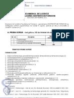 Tematica de Licenta Asistenta de Farmacie 2012